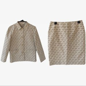 Aquascutum of London Monogram Skirt & Blazer Set